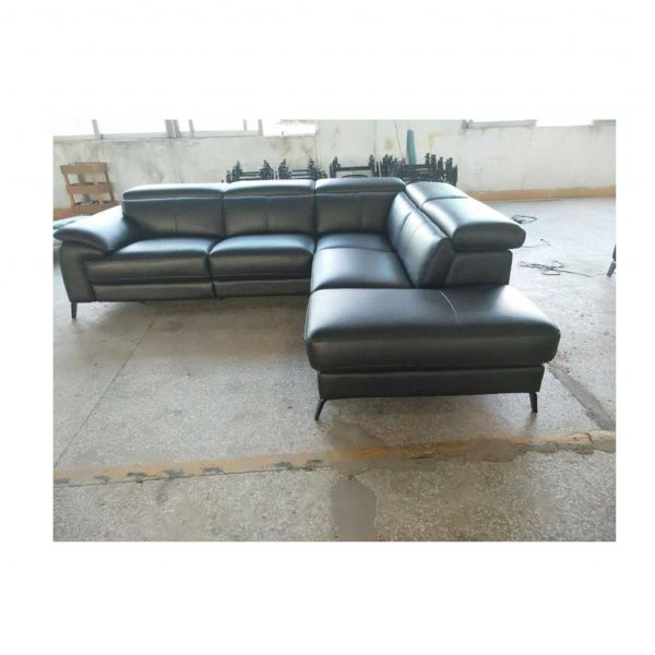 Corner L shape Leather Lounge Couch sofa Black