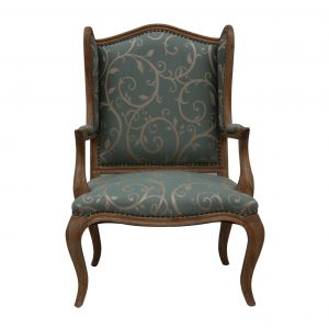 Haze Oak Timber Wingback Armchair Studded Feature