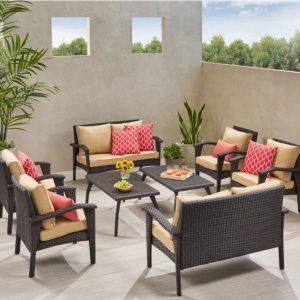 Outdoor Wicker 4 piece Lounge Set - All 4 Furnishings