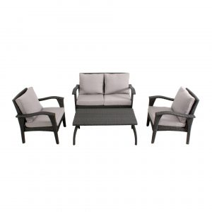 HS012-BL-Honolulu Outdoor 4 piece Wicker Lounge Set