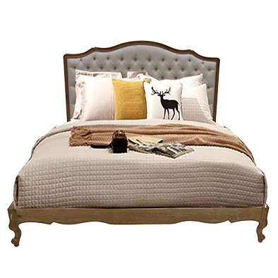 Linen King Bed Frame with Button Feature