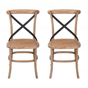 Oak Timber Steel Cross Back Rattan Seat Dining Chair