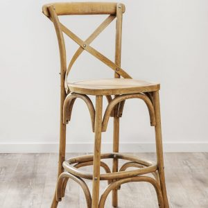 HWC007 Oak Timber Cross Back Bar Stool