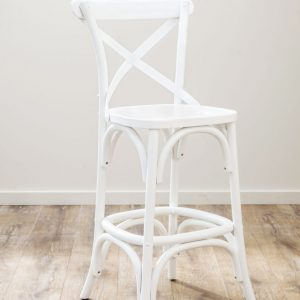 Oak Timber Cross Back Bar Stool White
