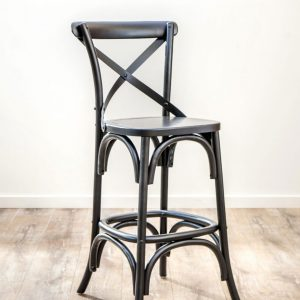 Oak Timber Cross Back Bar Stool Black