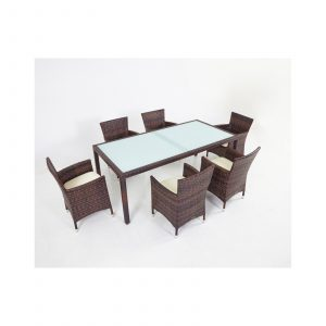 Outdoor PE Wicker 6 Seater Dining Set with Glass Table