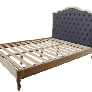 Hughette Linen Bed Frame with Button Feature