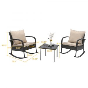 3 Piece Rattan Rocking Chair with Tea-table - Brown HD014 All 4 Furnishings