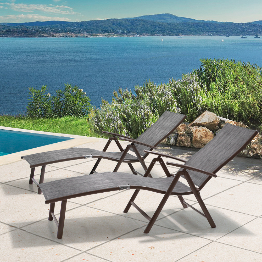 All Weather Aluminum Patio Lounge Chair 2 PCS LG001BGY-2