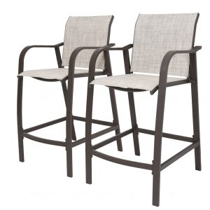 All Weather Aluminum Frame & Textilene Bar Stools - Set of 2 ST001BEI