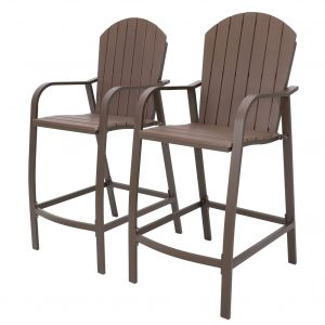 All Weather Aluminum Frame & Polywood Bar Stools - Set of 2HLS041